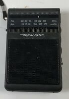 Vintage Realistic Black Hand Held Portable AM-FM Radio Shack Radio Model 12-725