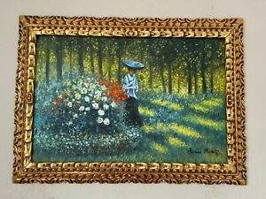 Claude Monet oil on canvas painting signed & stamped framed