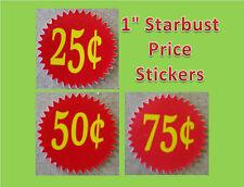 12 .25 Starburst  Vending Price labels Red