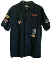 Genuine Harley Davidson Button Up Short Sleeve Mechanic Shirt Black Mens Medium