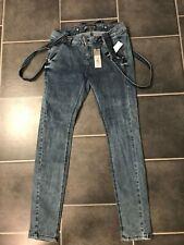 XXS XS S M L Hosenträger*32-40 Trägerhose Jeanshose Röhrenjeans Latz Jeans m