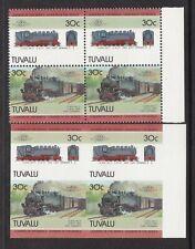 Tuvalu 1985 30c Locomotives Imperf Block of 4 Plus Normal Block UMM MNH Unlisted