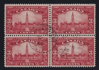 Canada Sc #143 (1927) 3c Parliament Block of 4 Used w/Kingston CDS