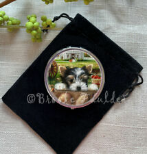 Biewer Terrier pill box compact case portable parti Yorkie small gift w bag