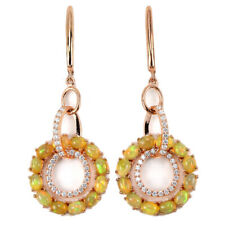 NATURAL AAA RAINBOW OPAL CABOCHON & WHITE CZ STERLING 925 SILVER DANGLE EARRING