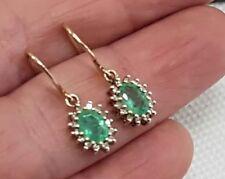 Vintage Designer 9 Ct Yellow Gold Emerald Diamond Earrings Dangle Drop