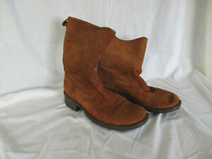 Born Womens Brown Leather Suede Boots Size 9 Pull On Mid Calf Riding Biker