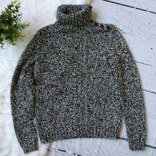 Chaps women black white knitted button down turtleneck Size M