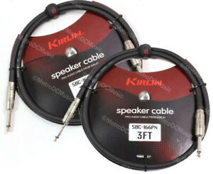 "2-Pack Kirlin Pro Audio 3 FT Speaker Cable 1/4"" 16AWG Guitar Bass Amp Amplifier"