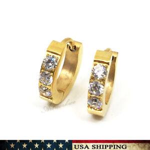 Men's Women's Gold Stainless Steel Three CZ Ear Studs Earring Fashion Jewelry