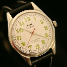 Men's HMT white dial serviced 1970's Pilot Parashock 17J military wristwatch