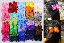 "Wholesale 40pcs  4""  Girl  Baby  toddler  child  solid  Boutique Hair Bows Clips"