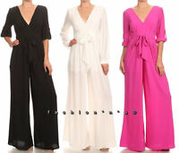 Solid Wide Leg Dress Jumpsuit Palazzo Pant Suit Roll Up Long Sleeve