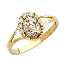 14K Gold Fancy Ring Anillo de Virgen de Guadalupe Virgin Mary Simulated Diamond