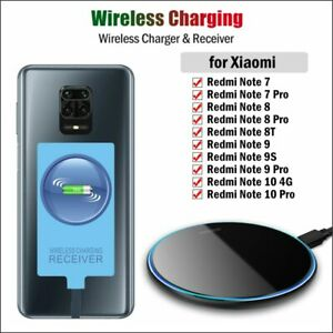 Qi Wireless Charger & Receiver for Xiaomi Redmi Note 7 8 8T 9S 9 10S 10 Pro Max