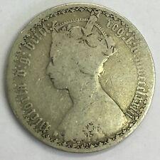 Antique Victoria Victorian 1873 Silver Florin Coin Gothic MDCCCLXXIII