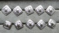 Set of 8 diamond shape buttons, Christian, Cross, Religious, 15 x 15 mm.