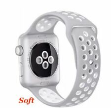 Grey/ White Sport Silicone Strap Replacement Band for Apple Watch iWatch 38 MM