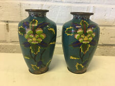 Antique Chinese Pair of Blue Cloisonne Vases w/ Flower Decoration