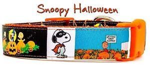 "Snoopy Halloween dog collar handmade adjustable buckle collar 1""wide or leash"
