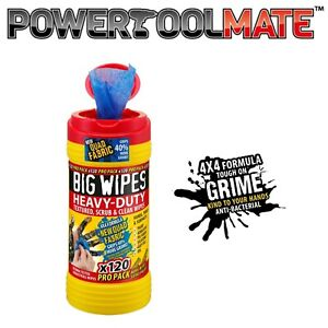 Big Wipes 120 PRO PACK Red Top 4x4 Quad Heavy-Duty Large Hand Cleaning Wipes