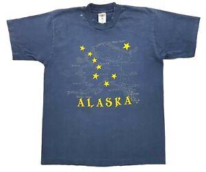 Vintage Alaska Map Tee Navy Size L Single Stitch Distressed T-Shirt