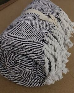 "Purple Handloom Woven Chevron Pattern Throw with Fringes 50"" x 60"" 100% Cotton"