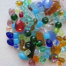 100pcs Glass Beads Round Square Bicones Teardrop Colours Craft Jewellery Making