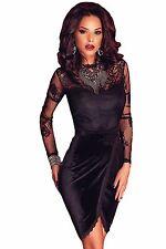 Abito cono ricamato pizzo nudo Trasparente Scollo Midi Lace Velvet Party Dress M