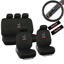 New Looney Tunes Road Runner Car Front Back Seat Covers Steering Wheel Cover Set