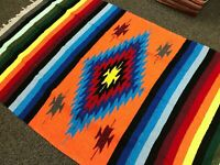 Mexican Blanket Thick Orange Red Black Yellow Diamond Yoga Blanket Large Serape