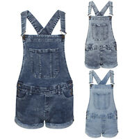 Womens Denim Acid Wash Distressed Fray Dungaree Shorts Hot Pants Ladies Playsuit
