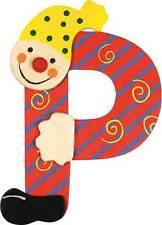 Lettre prenom de porte clown en bois P rouge, décoration de porte **