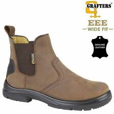 MENS SAFETY BOOTS NEW WIDE FIT CHELSEA DEALER ANKLE HIKING LEATHER SHOES SIZE