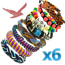 6 x Children's Colourful Beads Braided Bracelets Job Lot Kids Party Bag Pack WBO