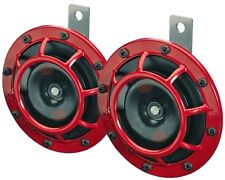 NEW HELLA Supertone Universal 12V High Tone/Low Tone Twin Horn Kit 003399801 Red