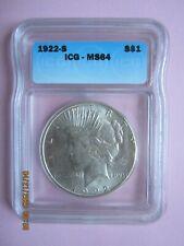 1922-S Peace Silver Dollar - Graded ICG MS64