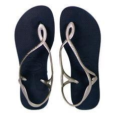 Havaianas Luna Navy Blue & Silver Flip Flop Sandals Size UK 7/8 (Euro 41/42)