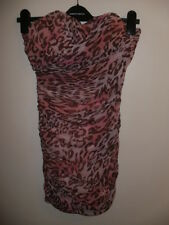 Sexy Pink animal print Strapless Stretchy Wiggle Dress- RARE-Size 6