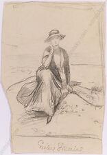 """Adolf Pirsch (1858-1929) """"Female Portrait Study"""", Drawing, Early 20th Century"""
