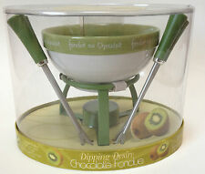 Jo!e Dipping Desire Chocolate Fruit Fondue Set NEW Green Bowl Forks Base Candle