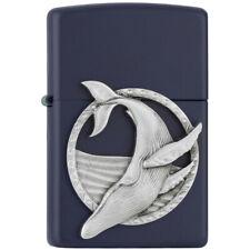 More details for blue whale emblem navy blue matte zippo lighter
