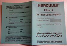 1 abe hercules mofa Betriebserlaubnis Blanko  PRIMA 5 blaue papiere