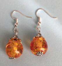 Tibet Silver Jewelry Handmade amber Earrings