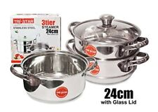 24CM 3 TIER STEAMER STAINLESS STEEL MULTI COOKER POT PAN COMMERCIAL CATERING