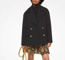 BNWT Michael Kors Twill Pea Coat Jacket Black Size S 10 $350 Double Breasted
