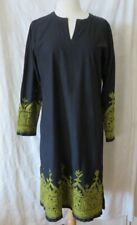 ANOHKI BLACK COTTON INDIAN DRESS HAND EMBROIDERED SZ L