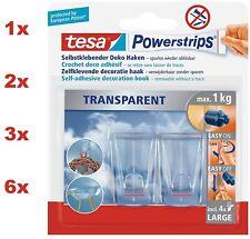 TESA 2 Klebehaken Dekohaken transparent 4x Powerstrips selbstklebend eckig 1Kg