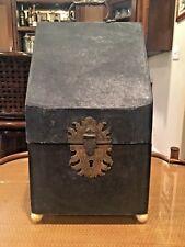 Antique 18th C. Shagreen Shark Skin Knife Box on Ivory Colored Bun Feet