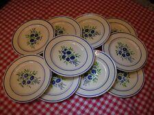 lot 10 assiettes plates anciennes fleur des champs Bleuets